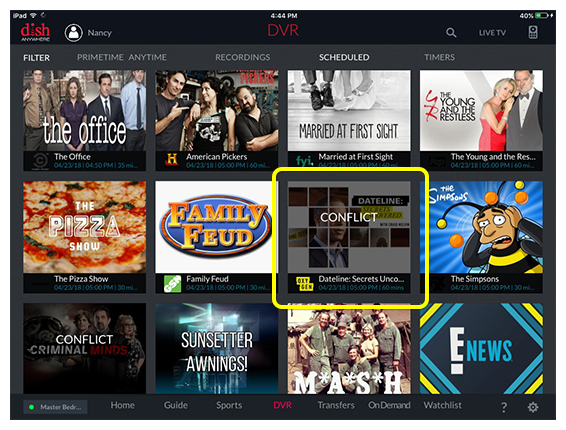 List of scheduled recordings in the DISH Anywhere tablet app, with one labeled CONFLICT