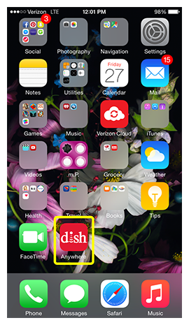 iphone screen showing DISH Anywhere app