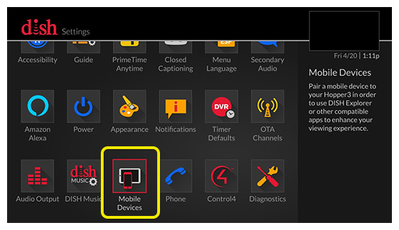 Dishanywhere log in and out mydish dish customer support mobile devices menu option use the remote to move through the grid of menu options m4hsunfo