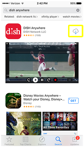 DISH Anywhere app result with cloud icon to download the app again