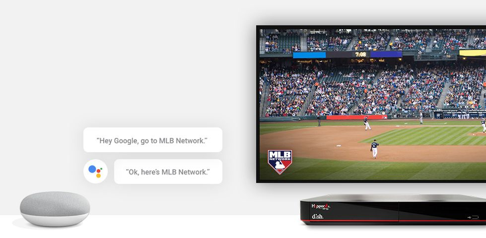 DISH Hopper receiver with Google Home Mini and speech bubbles showing commands like Hey Google, go to MLB Network