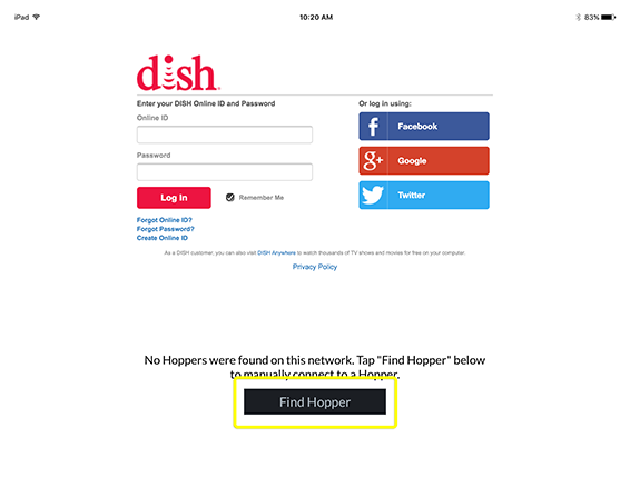 Button to Find Hopper in DISH Anywhere phone app