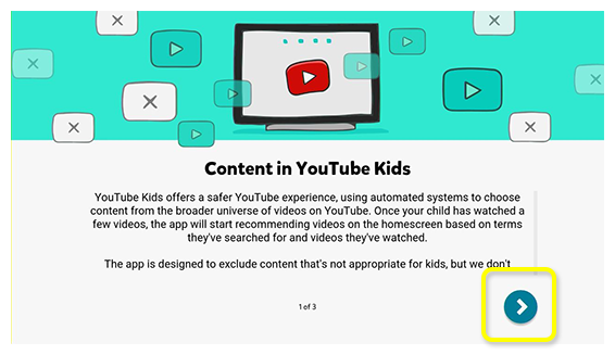 YouTube Kids app guide pages