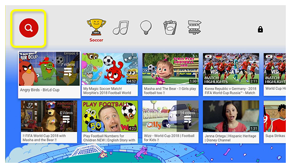 Search icon at the top of the YouTube Kids app