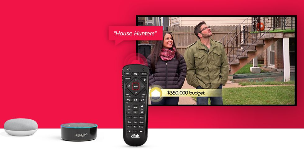 DISH Voice Remote with the voice command of 'House Hunters' next to a TV playing House Hunters