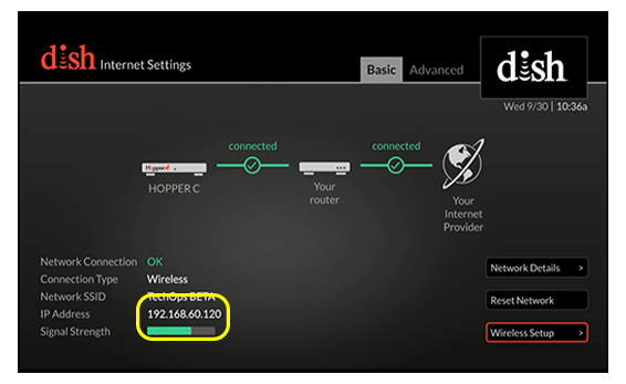 IP address of receiver listed in bottom left corner of settings screen