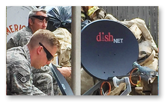 dishNET satellite internet in use at a disaster recovery site