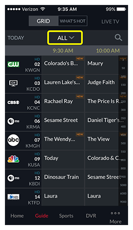Category drop-down above the channel guide, currently showing ALL