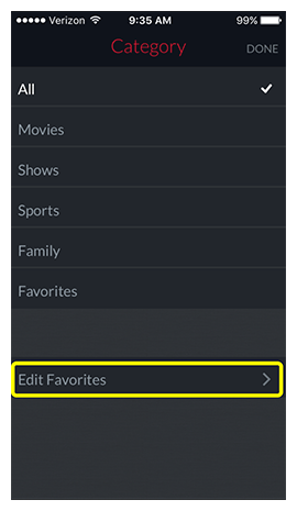 Link to Edit Favorites at the bottom of the category filter