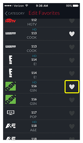 same list of channels, now with one of the hearts white to show it has been favorited