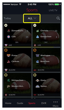 Category drop-down at the top of the Sports screen, currently showing ALL