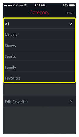 List of available categories to filter by, including Movies, Shows, Sports, Family, and Favorites