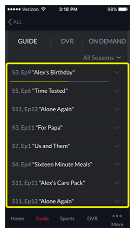 List of episodes for selected program