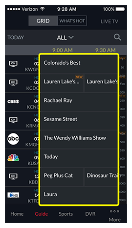 Channel guide in the DISH Anywhere phone app