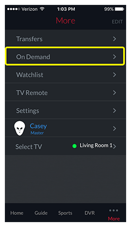 On Demand menu option in the DISH Anywhere phone app