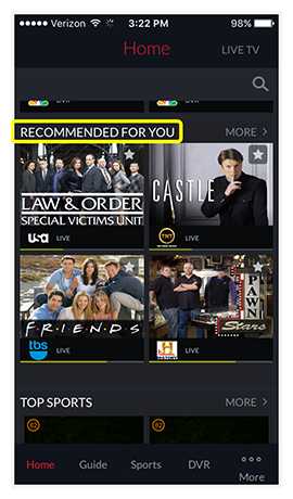 Recommended For You section on DISH Anywhere phone app home screen showing tiles of recommended content