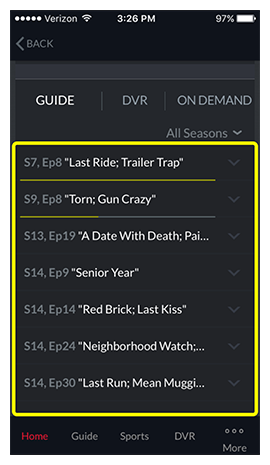 List of available episodes for the selected program