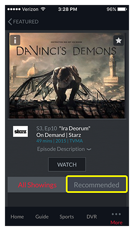 Tabs for All Showings vs Recommended on a program detail page