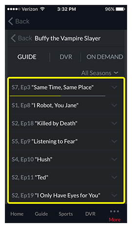 List of available episodes for the selected show
