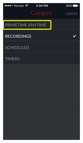 List of DVR categories including PrimeTime Anytime, Recordings, Scheduled, and Timers