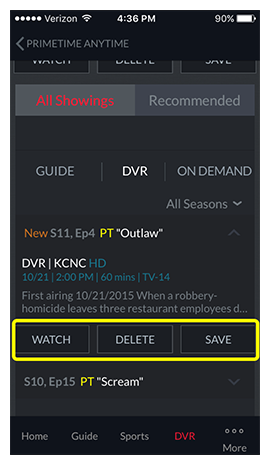 Buttons to watch or delete the selected program