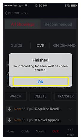 ok button on pop-up confirming the recording has been deleted