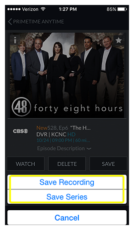 popup asking if you want to save this recording or save the entire series