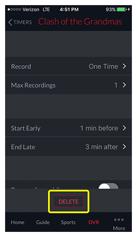 Delete button at the bottom of a timer detail page