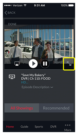 Full screen icon in corner of DISH Anywhere phone app video player