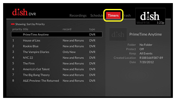 Timers menu (Use the skip forward button, located one button to the right of the DVR button, to move through the tabs)