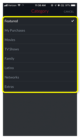 list of On Demand categories, including Featured, Movies, TV Shows, Family, Latino, and Networks
