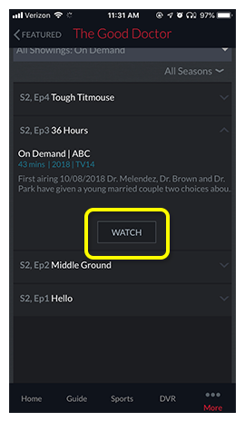 Watch button in the middle of an On Demand program detail screen
