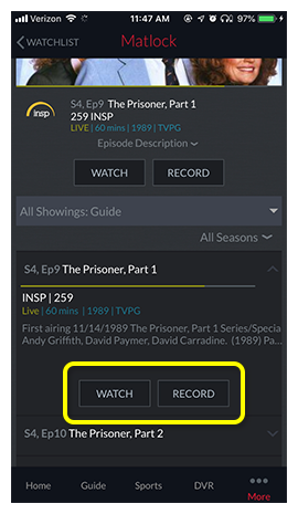 Buttons to watch or record the selected program