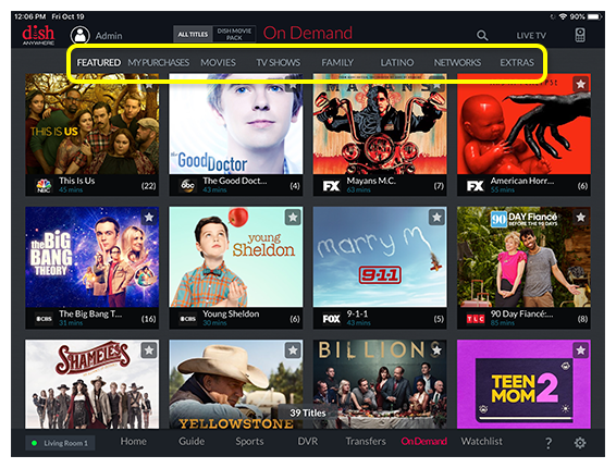 tabs for available categories above the guide, including Movies, Shows, Family, Latino, and Favorites