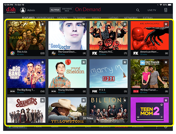 List of available On Demand programs in the selected category