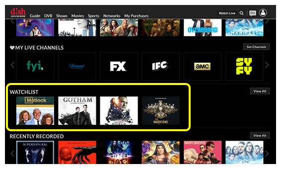 Watchlist section on DISH Anywhere website homepage showing titles in your watchlist