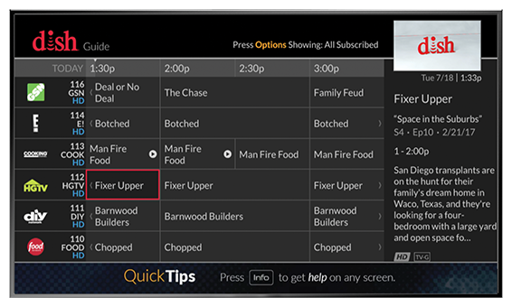 On-screen channel guide