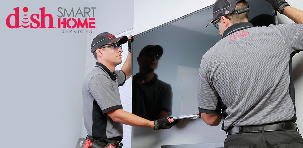 DISH Technicians mounting a TV on the wall