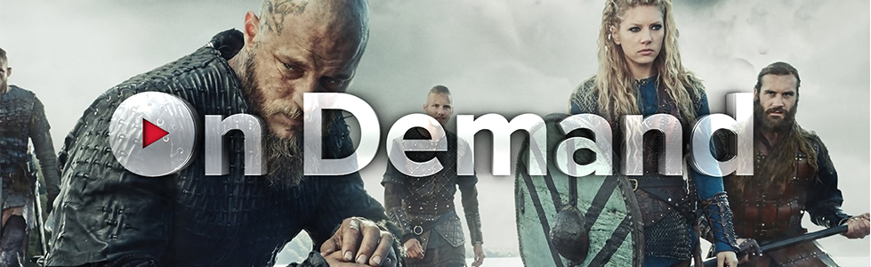 DISH On Demand logo over the cast of History Channel's VIKINGS
