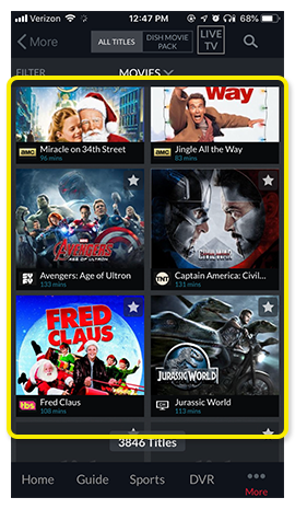 grid of movies in the DISH Anywhere phone app