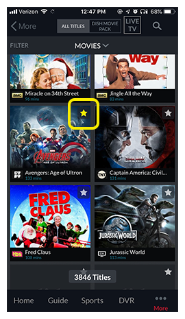 yellow star icon overlaying a selected movie