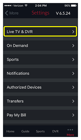 live tv and dvr menu option