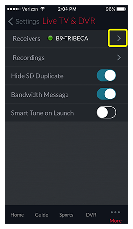 arrow next to selected receiver in menu