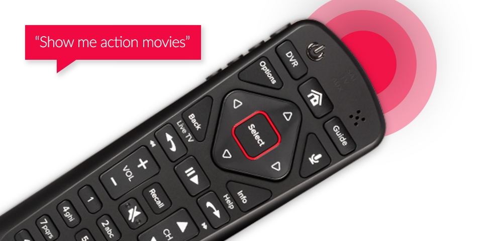 DISH Voice Remote with speech bubble saying 'Show me action movies'