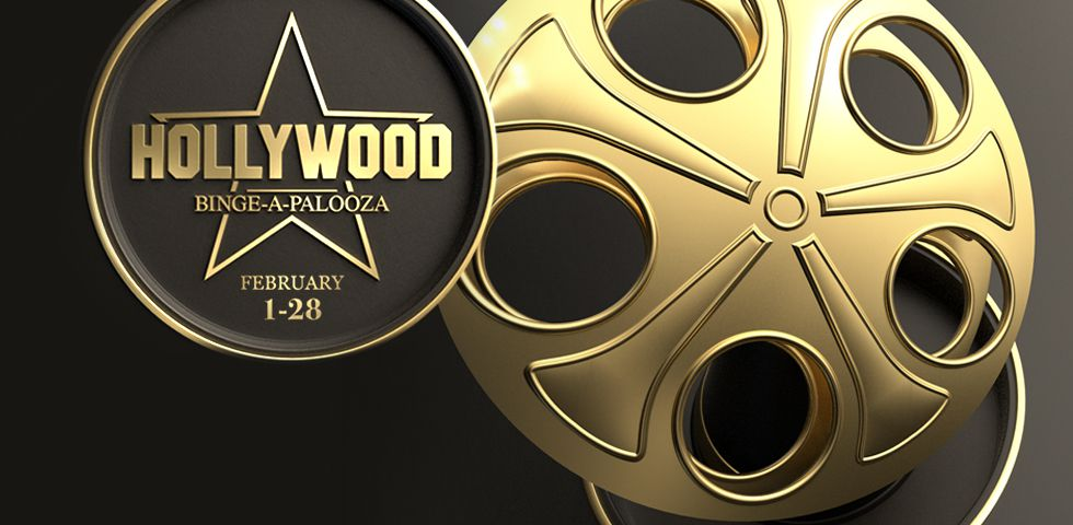Big golden film reel for DISH's Hollywood Binge-a-palooza, February 1-28