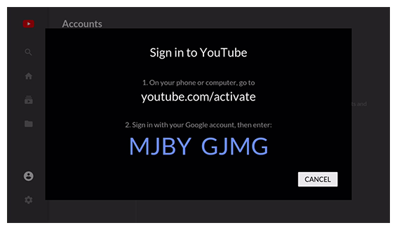 Authentication screen in the YouTube app with a code to enter online
