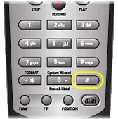 Pound/hash button in the bottom right of the remote's number pad