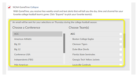List of college football conferences and teams with checkboxes to choose which to track