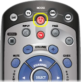 Red POWER button at the top center of the remote