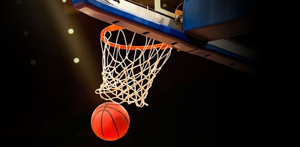 Basketball falling through net